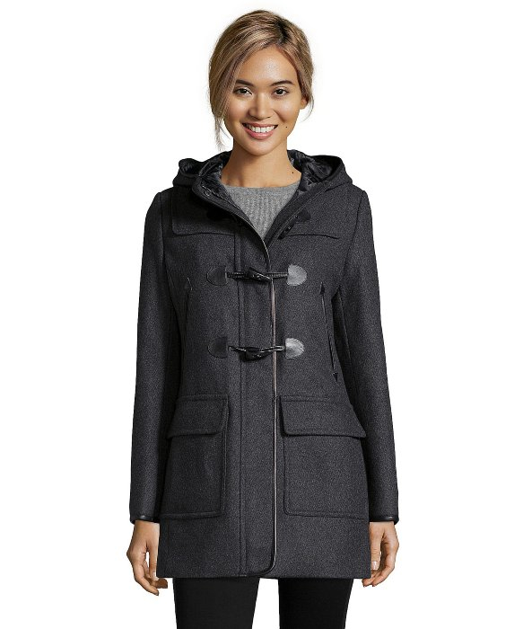 Cole haan Charcoal Leather Trimmed Wool Blend Hooded Duffle Coat