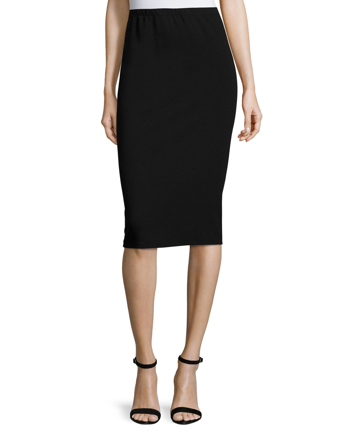 A pencil skirt that is midi length doesn't look right on a short woman either, and that leaves knee-length as the most flattering length. For a pencil skirt to really look right, the skirt should be fitted at the waist and hips but not be too tight.