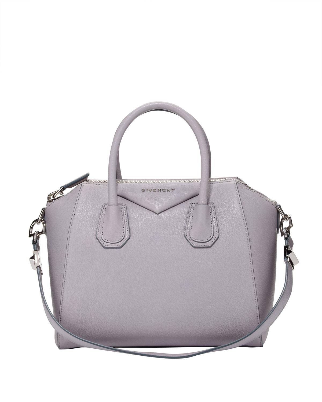 78886208bc Lyst - Givenchy Antigona Small Sugar Goatskin Satchel Bag Light Gray ...