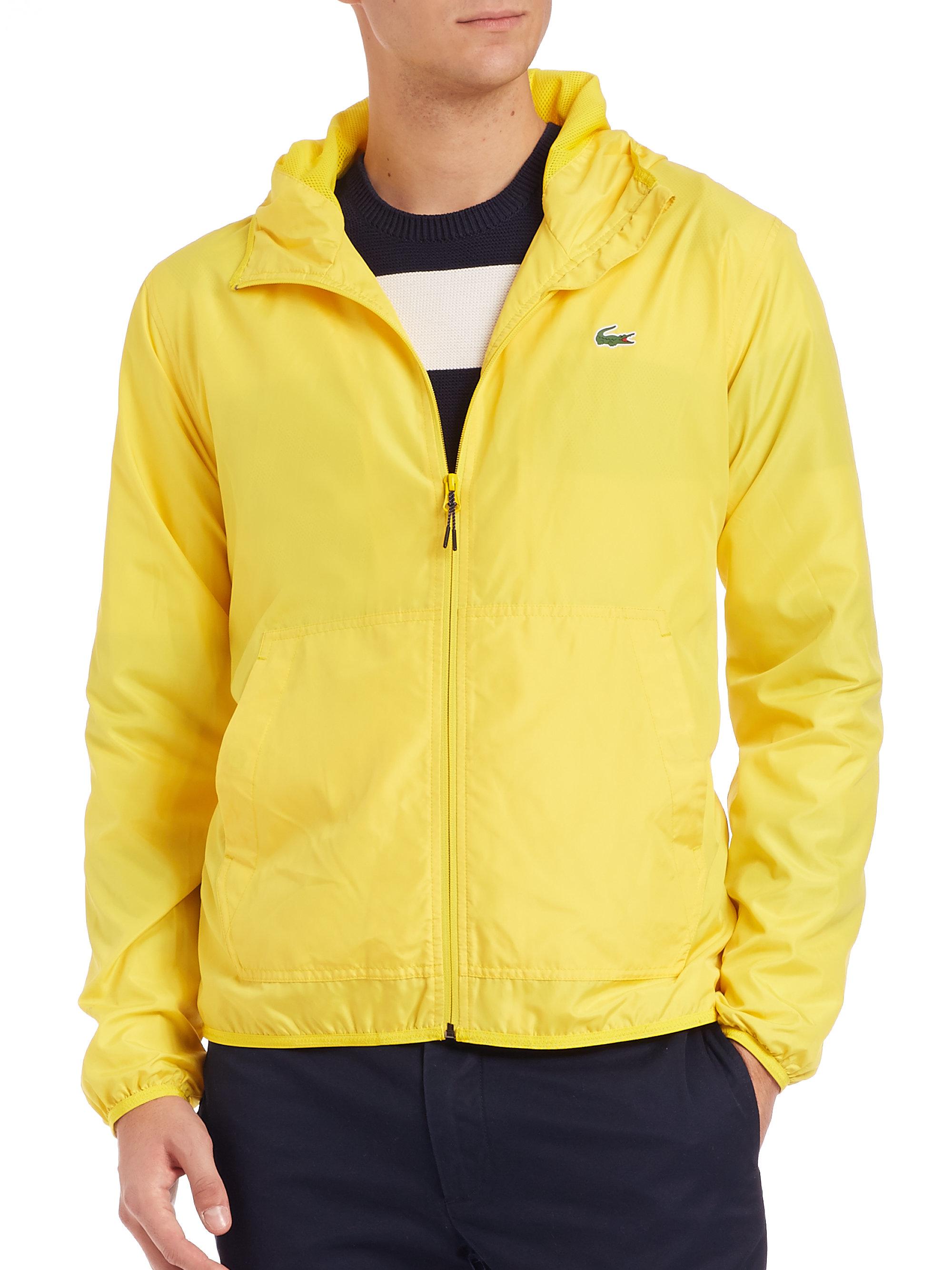 Lacoste Solid Hooded Windbreaker In Yellow For Men Lyst