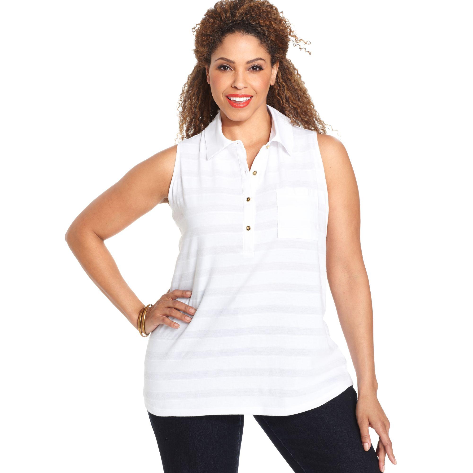 9ef241aba919c Lyst - Jones New York Signature Plus Size Sleeveless Polo Shirt in White