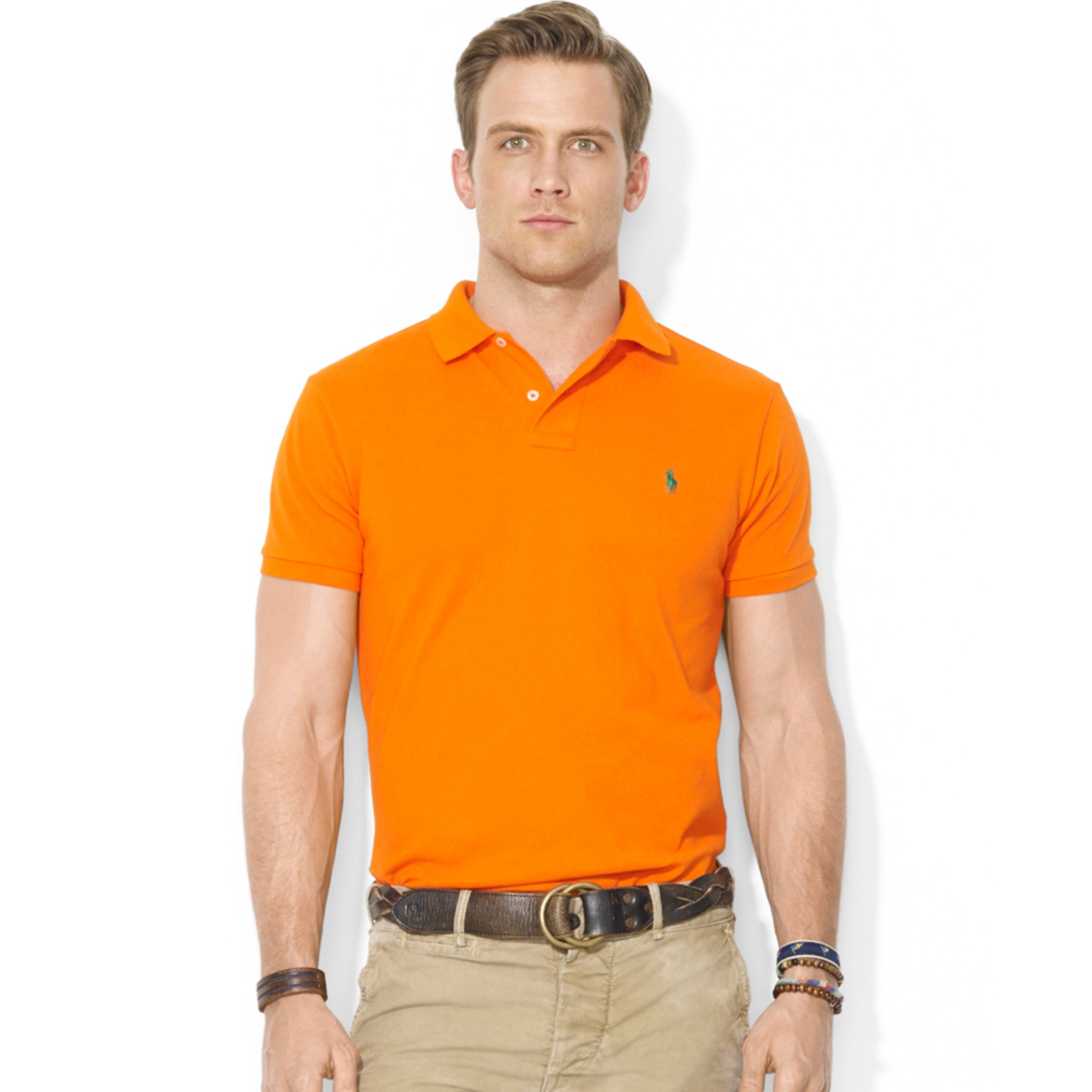 Polo ralph lauren custom fit mesh polo shirt in orange for Man in polo shirt