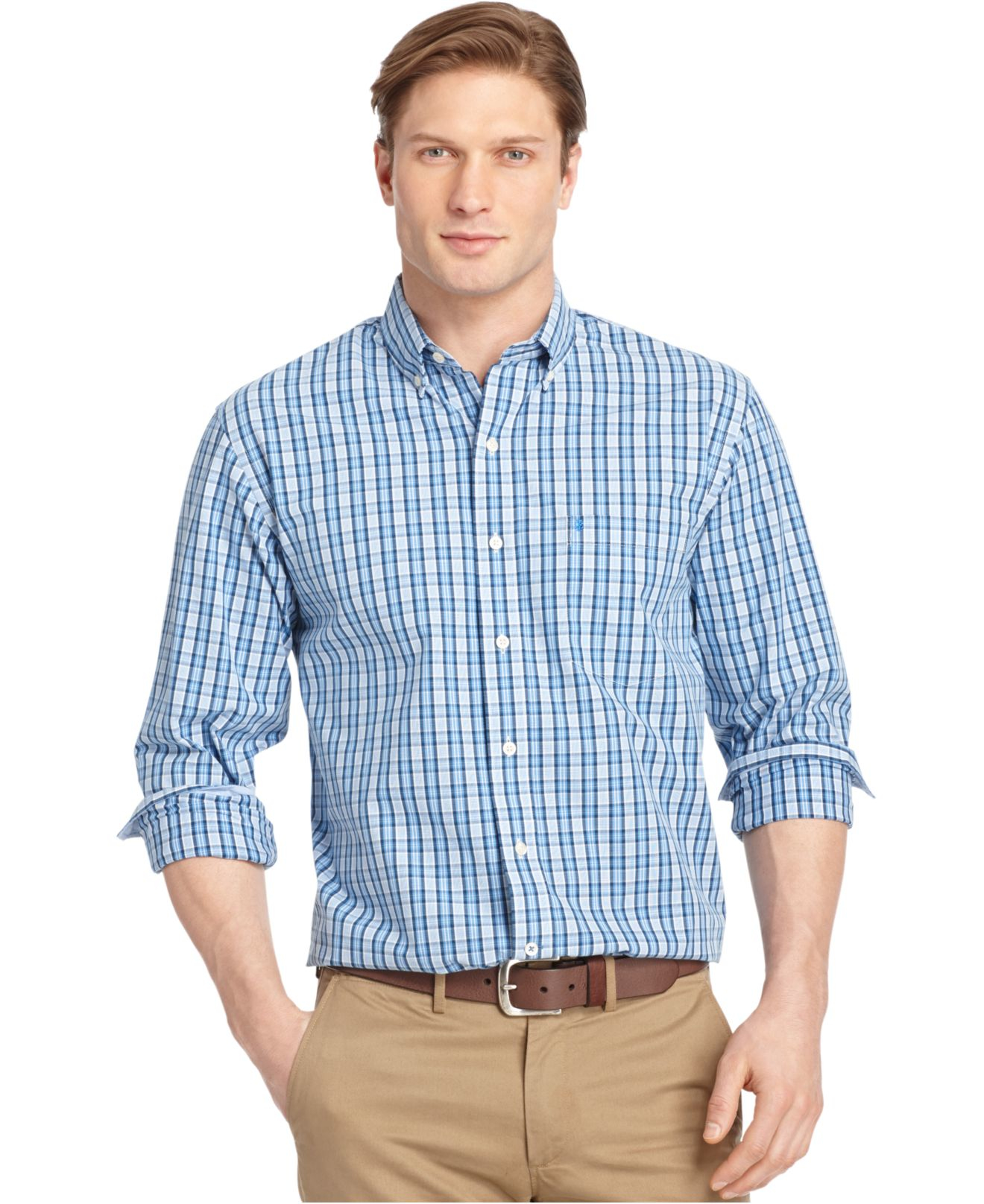 Lyst izod medium plaid button down long sleeve shirt in for Izod button down shirts