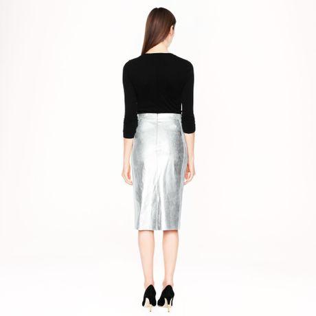 j crew metallic leather pencil skirt in silver metallic