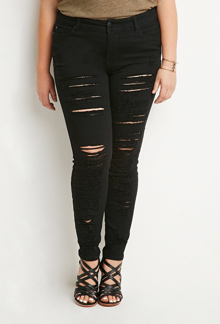 Black ripped skinny jeans plus size