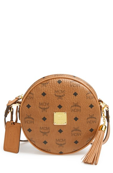 ... Lyst MCM heritage Tambourine Coated Canvas Crossbody Bag in Brown 10232b6c1793e