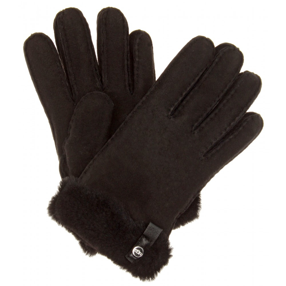 Womens leather gloves australia -  Ugg Tenney Shearling And Suede Gloves In Black Lyst Ugg Australia Leather