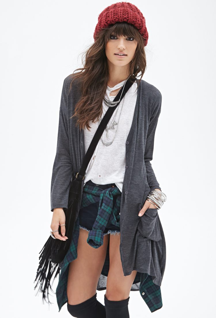 Forever 21 Button-down Maxi Cardigan in Gray | Lyst