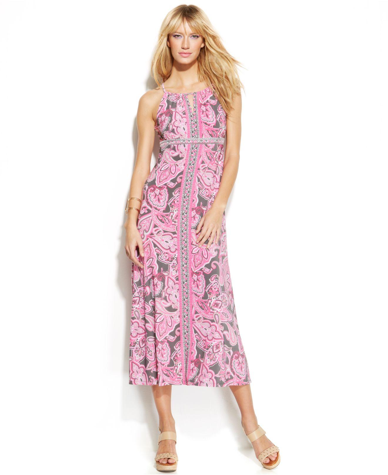 INC International Concepts Petite Paisley-Print Halter Maxi Dress in ...