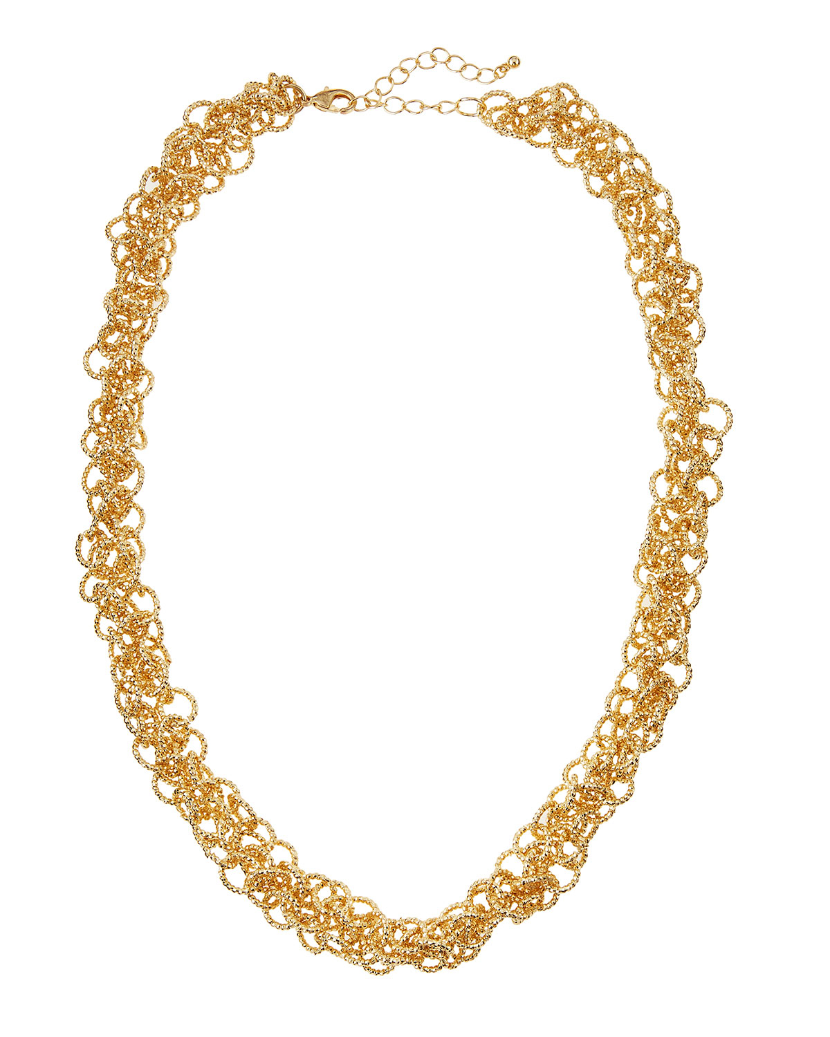 fragments golden multi ring link necklace in metallic lyst