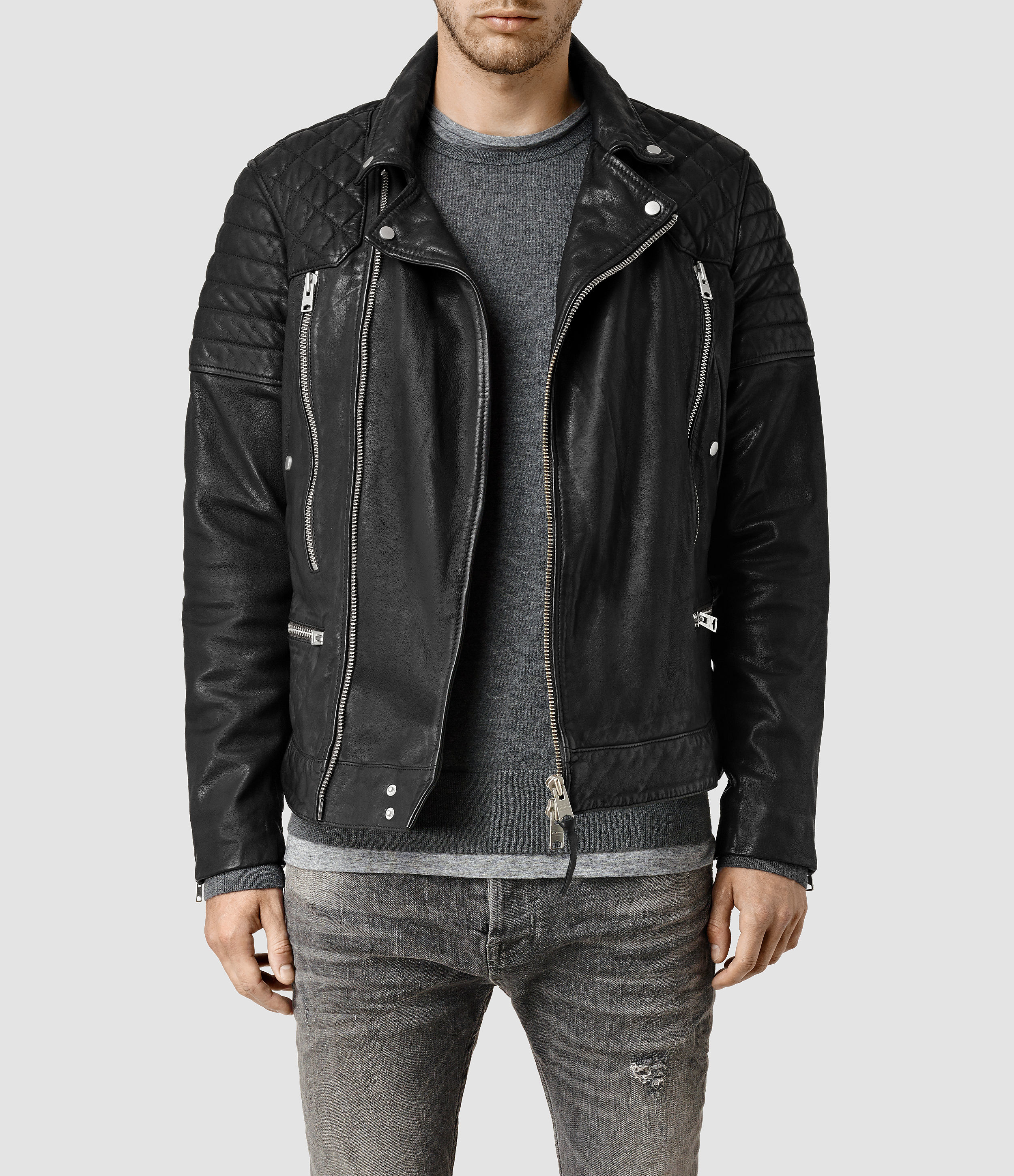 Lyst Allsaints Conroy Leather Biker Jacket In Black For Men