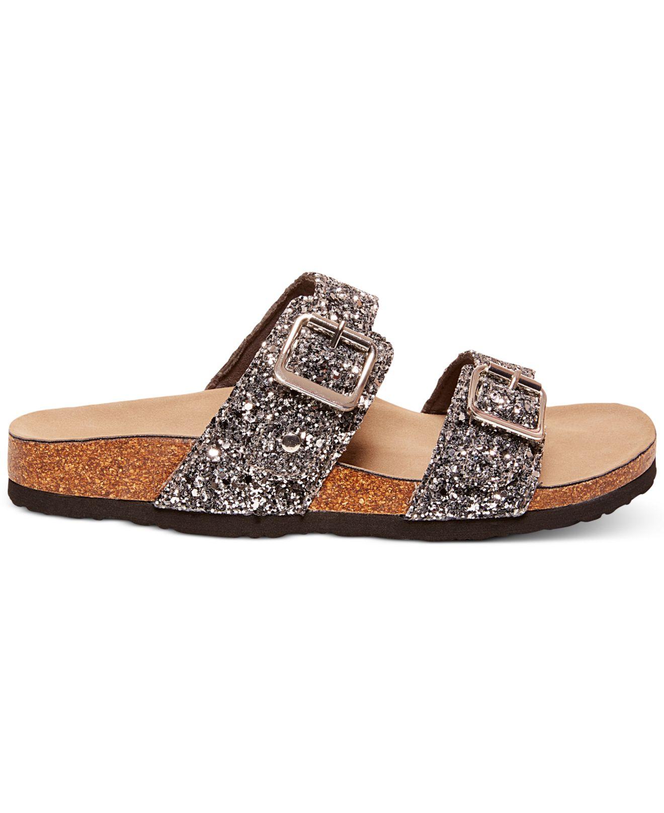 007e805eb5441 Lyst - Madden Girl Brando Glitter Faux-Leather Sandals in Metallic