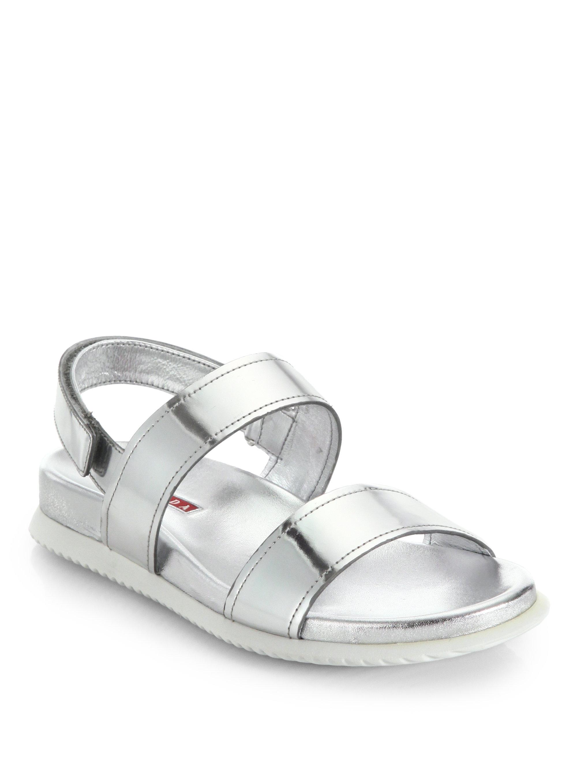 f764094826a1 Lyst - Prada Patent Leather Flat Sandals in Metallic