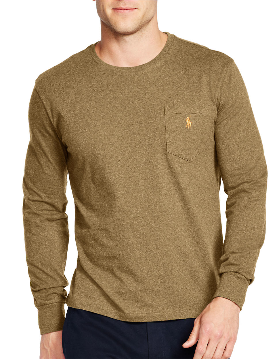 polo ralph lauren long sleeve jersey crewneck shirt in green for men lyst. Black Bedroom Furniture Sets. Home Design Ideas