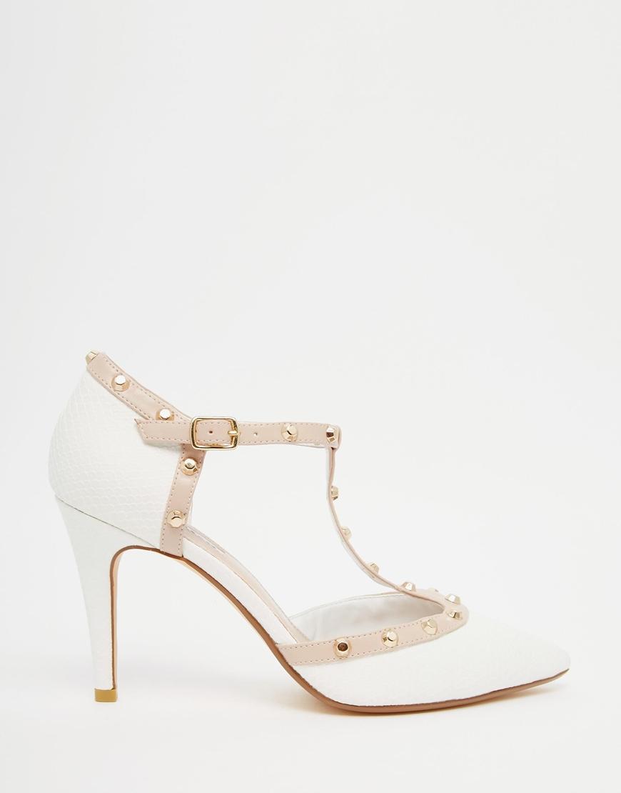 Dune Cliopatra White Stud Heeled Shoes