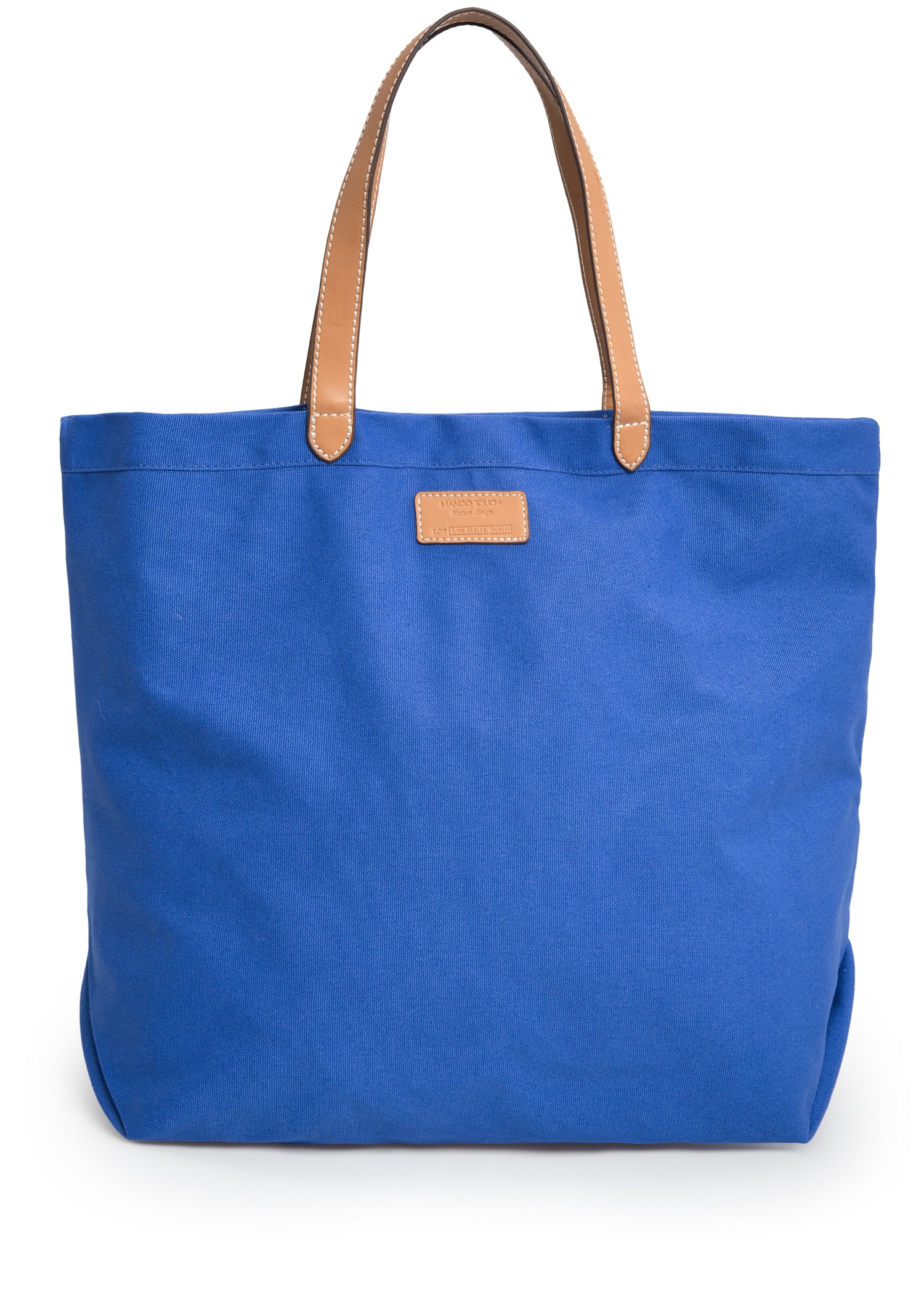 Mango Canvas Shopper Bag in Blue | Lyst