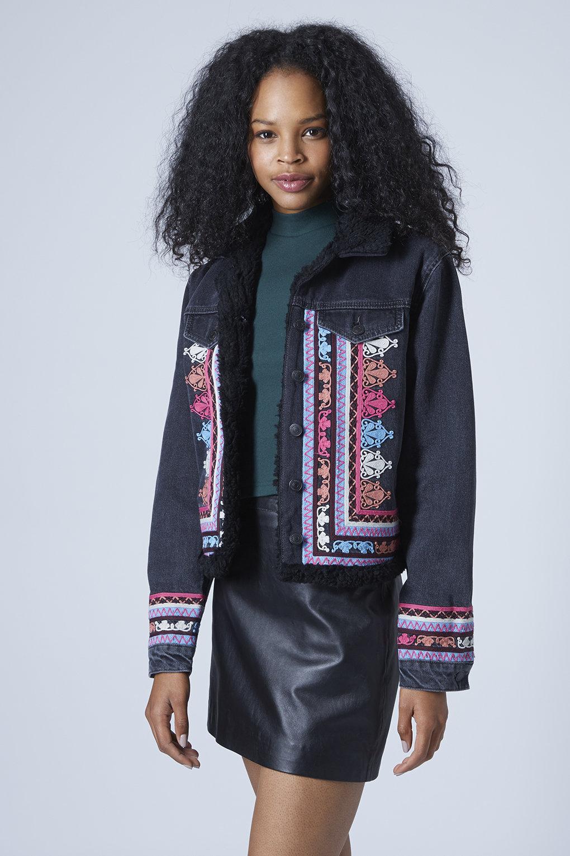 Lyst - Topshop Moto Denim Embroidered Jacket in Black