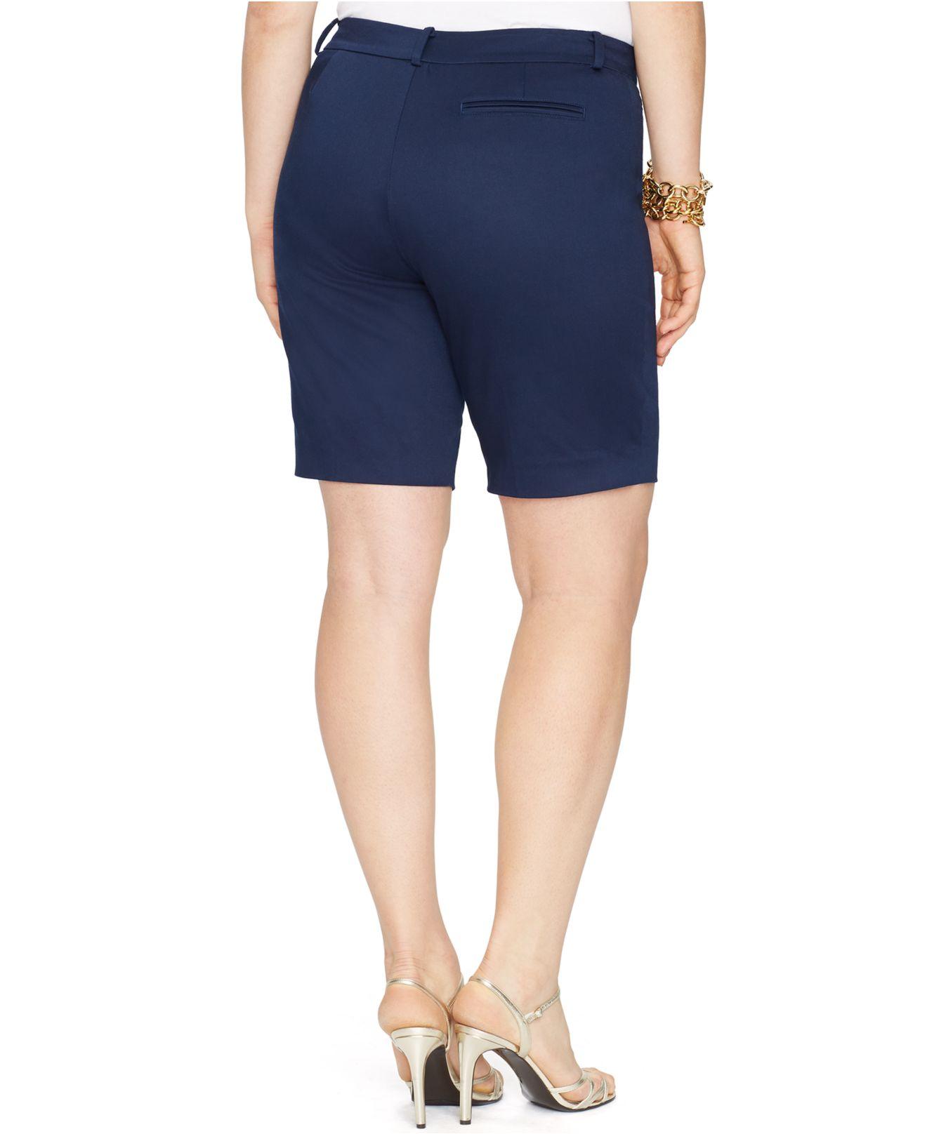 c10a08b033 Lyst - Lauren by Ralph Lauren Plus Size Sateen Shorts in Blue