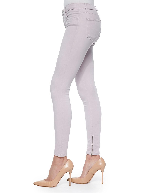 Lyst J Brand Cropped Zip Hem Skinny Fit Jeans In Purple