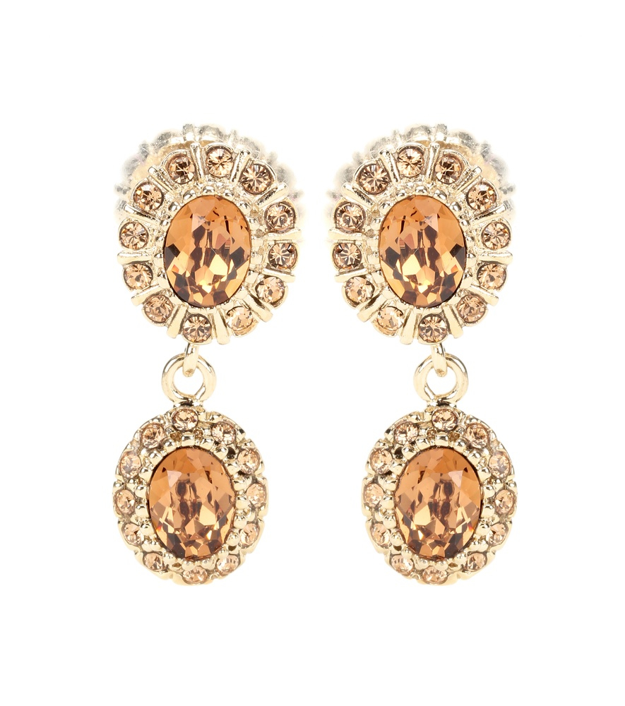 givenchy embellished clip on earrings in metallic