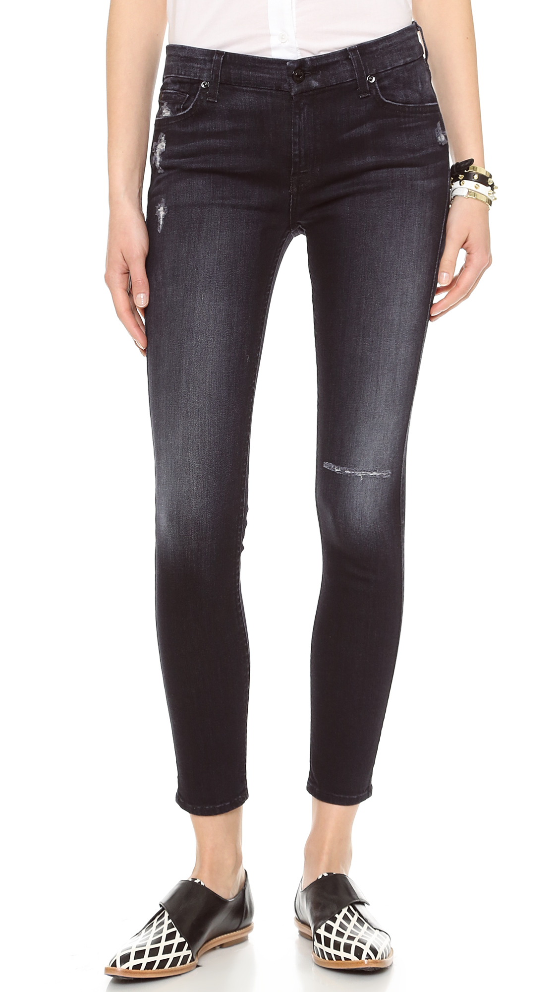 7 For All Mankind Ankle Skinny Jeans with Holes Slim Illusion Washed Black 2 in Black (Slim ...