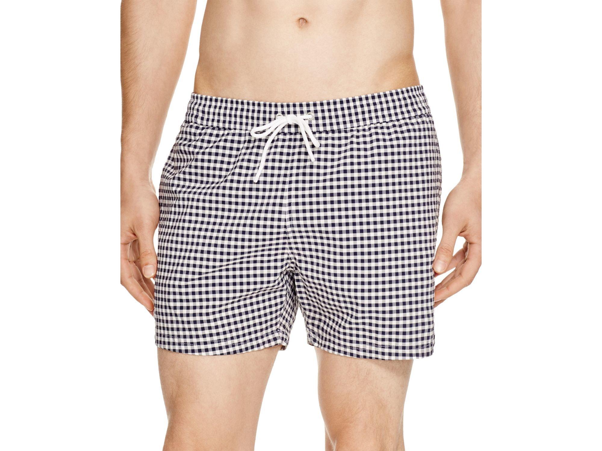 75012b0826 Lacoste Taffeta Gingham Swim Trunks in Gray for Men - Lyst