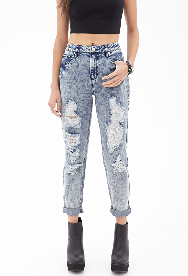 Forever 21 high waisted ripped jeans