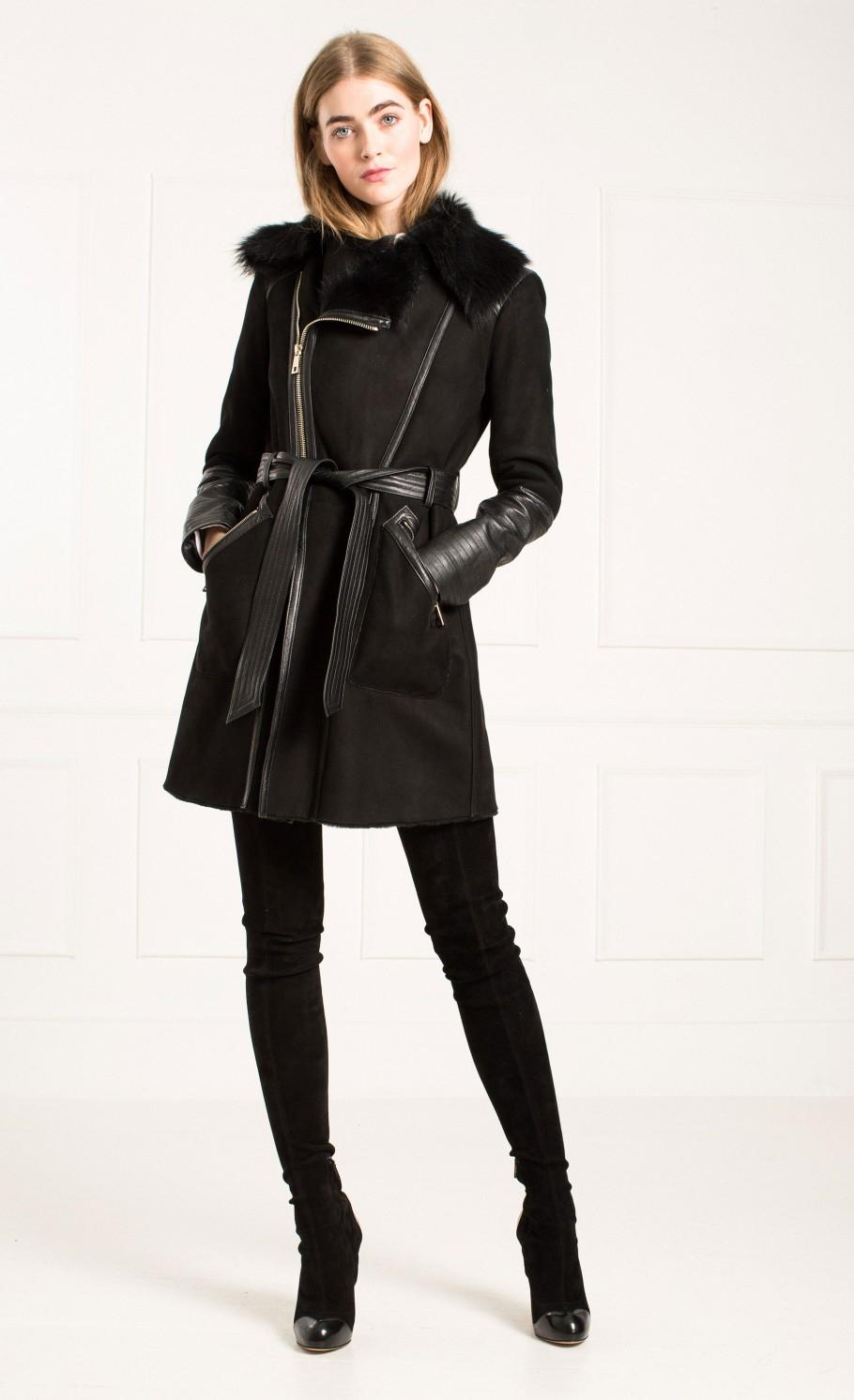 Temperley london Mila Sheepskin Coat in Black   Lyst