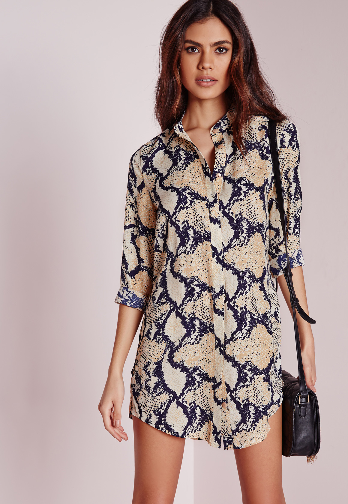 Lyst Missguided Petite Snake Print Collarless Shirt