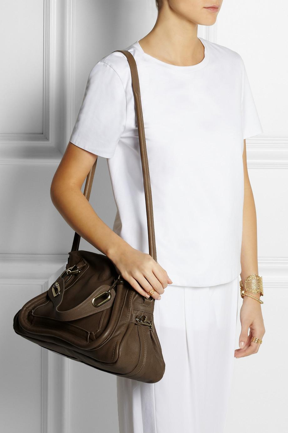 Chlo¨¦ Paraty Medium Leather Shoulder Bag in Khaki (Green) | Lyst