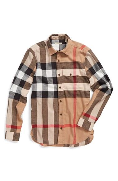 Lyst burberry brit 39 jamie 39 trim fit flannel sport shirt for Trim fit flannel shirts