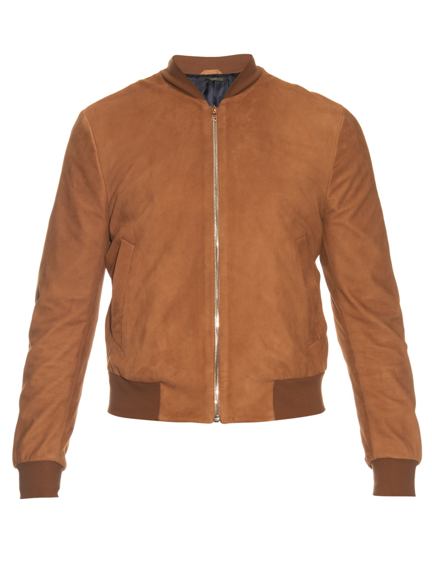 Lyst Paul Smith Suede Bomber Jacket In Brown For Men