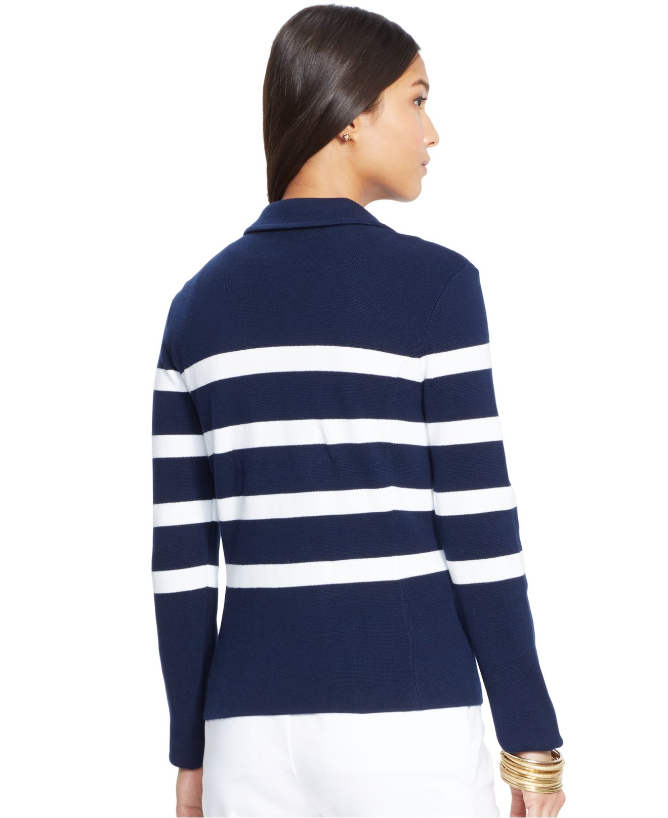 Lauren by ralph lauren Striped Sweater Blazer in Blue | Lyst