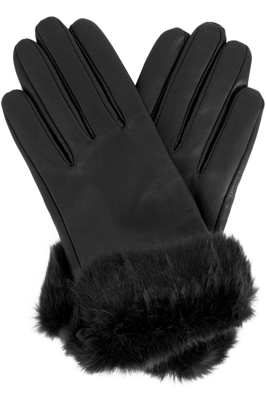 Black leather gloves with fur -  Black Leather Gloves Faux Fur Trim Gloves
