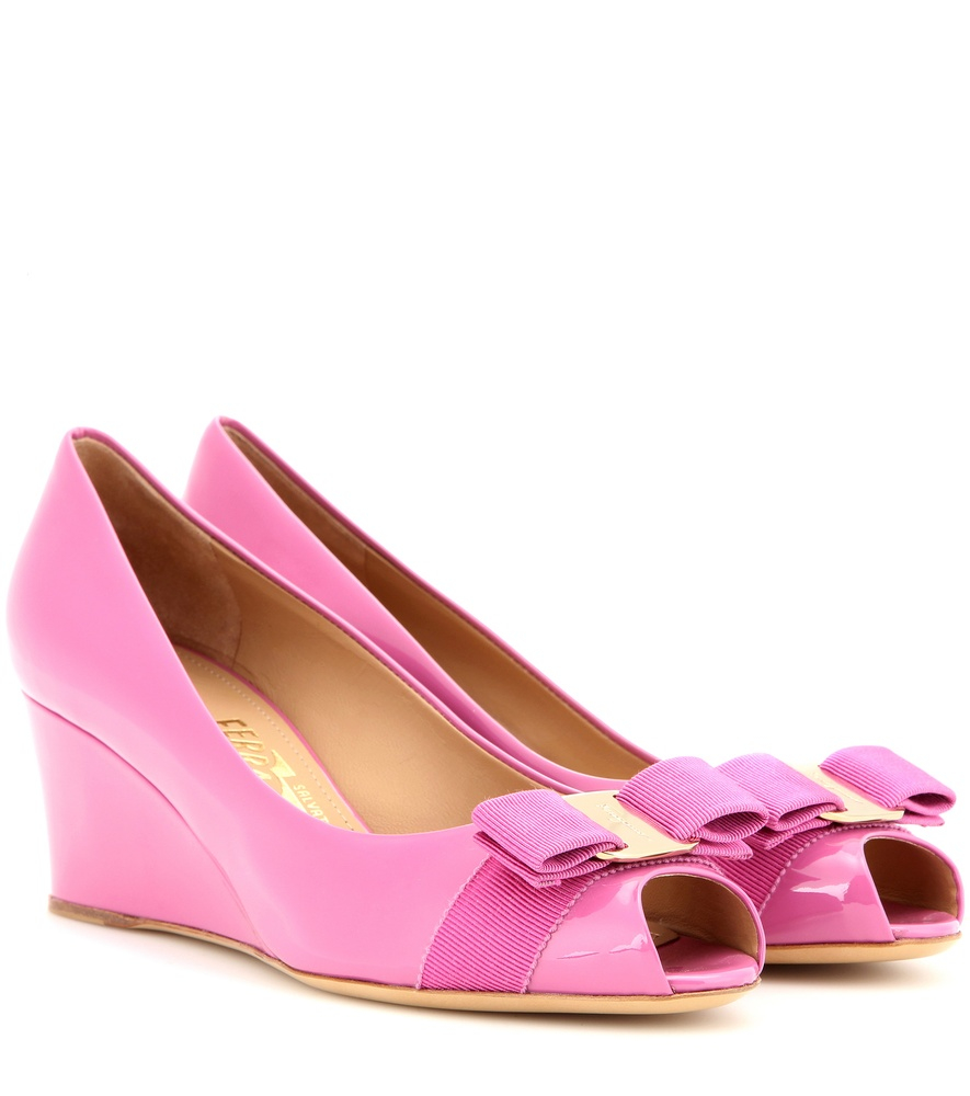 ferragamo patent leather wedge pumps in pink lyst