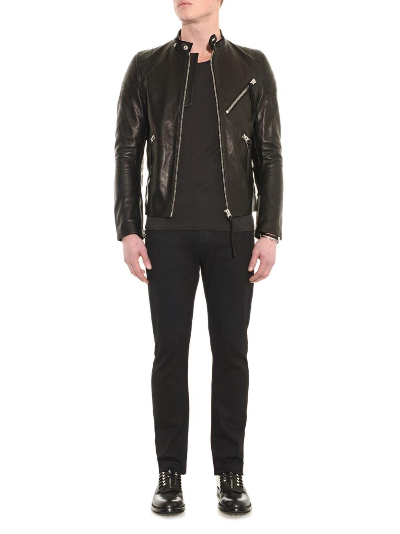 acne studios oliver leather jacket in black for men lyst. Black Bedroom Furniture Sets. Home Design Ideas