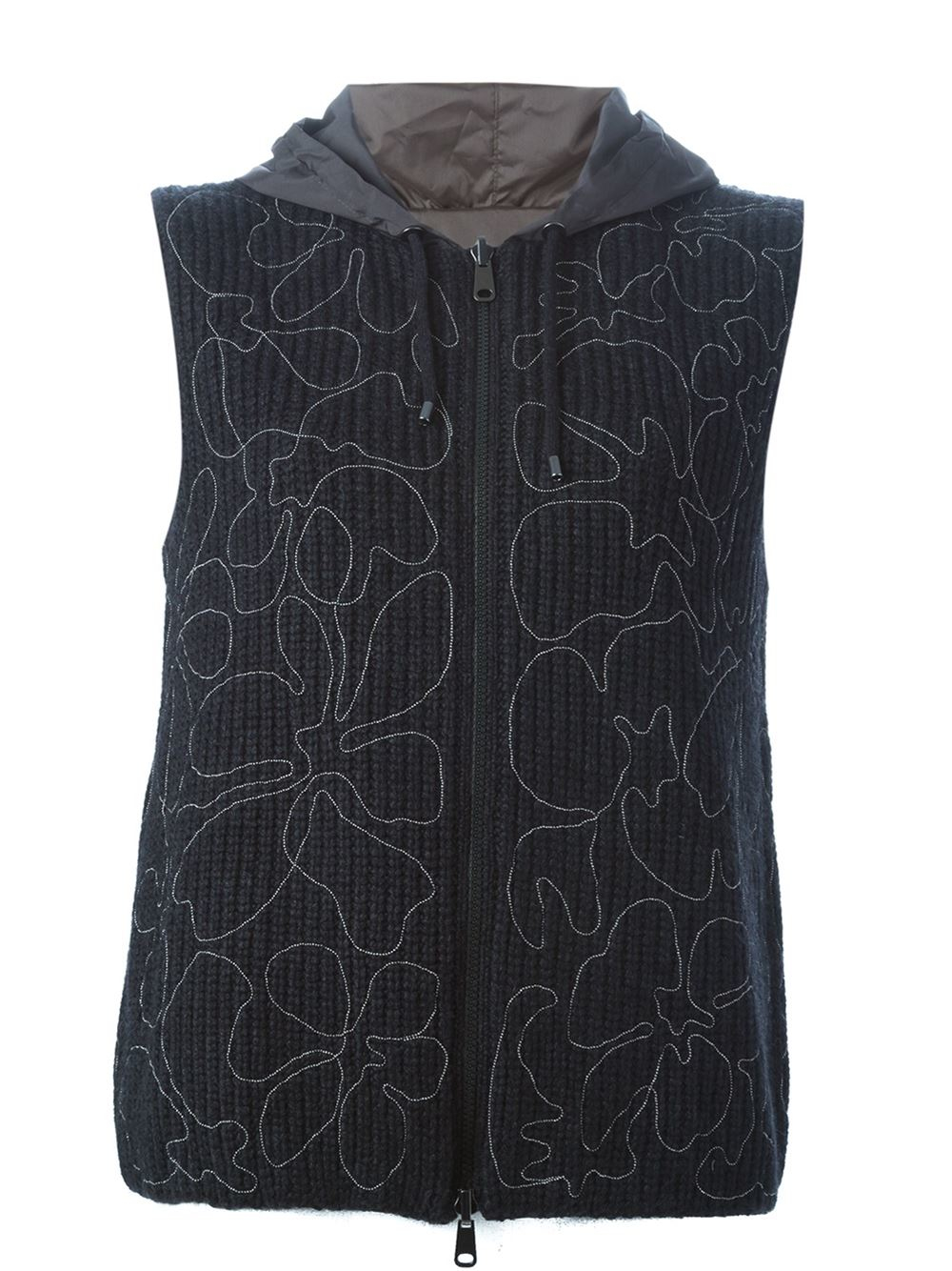 Knitted Hooded Vest Pattern : Brunello cucinell Reversible Knitted Hooded Vest in Black Lyst