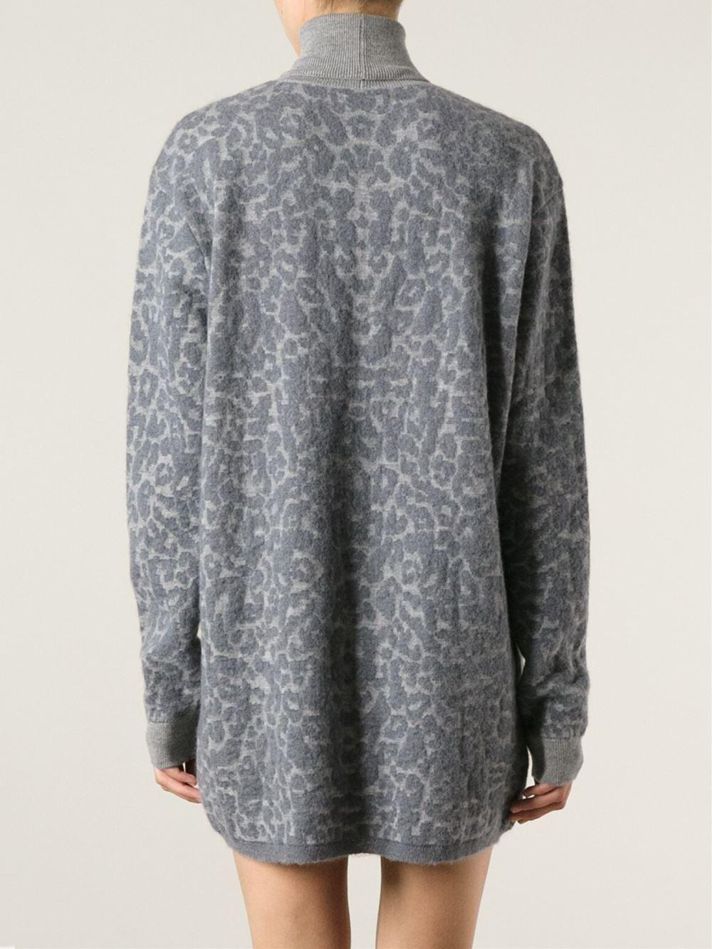 Lyst Mcq Leopard Pattern Sweater Dress In Gray
