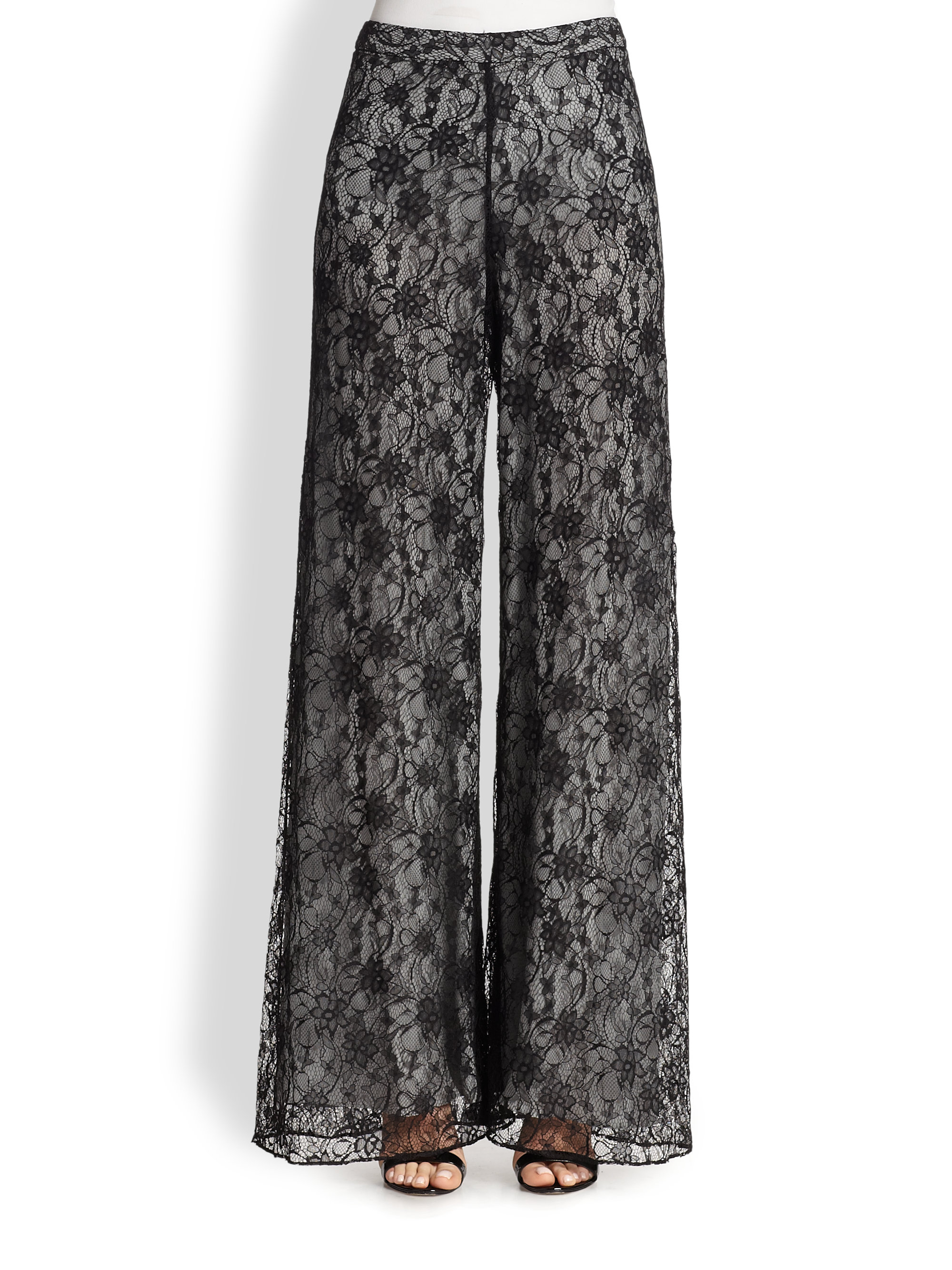Lyst Alice Olivia Super Flared Wide Leg Lace Pants In