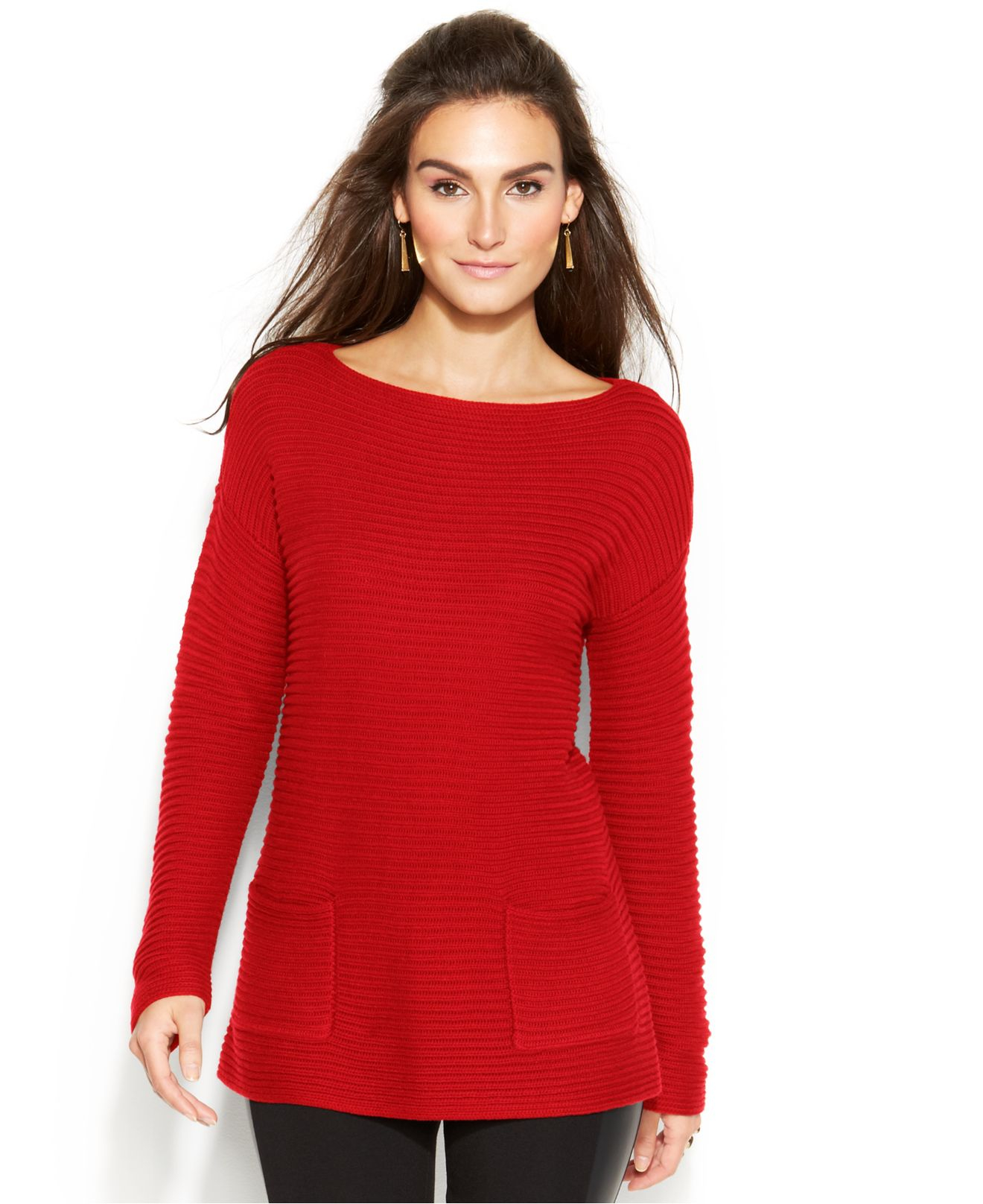 Vince camuto Long-Sleeve Tunic Sweater in Red | Lyst