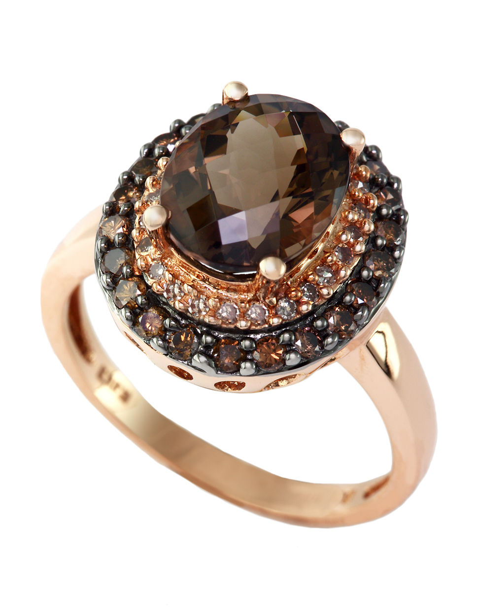 Fresh Lyst - Effy 14kt. Rose Gold Smokey Topaz Ring With Brown And White  MJ37