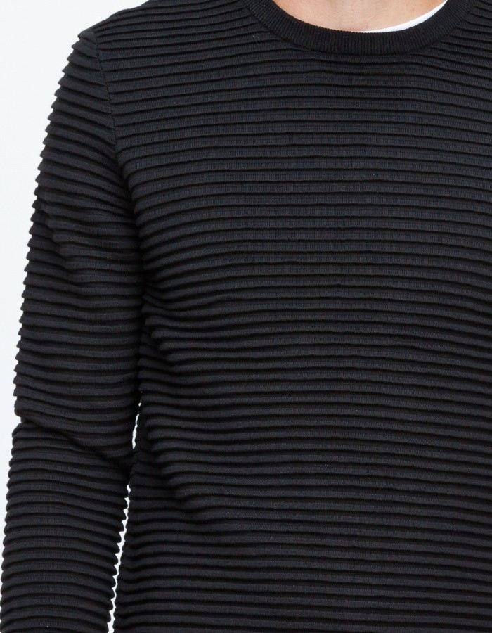Topman Black Horizontal Rib Crew Neck in Black for Men | Lyst