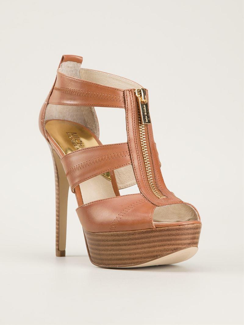 lyst michael michael kors high heel sandals in brown. Black Bedroom Furniture Sets. Home Design Ideas