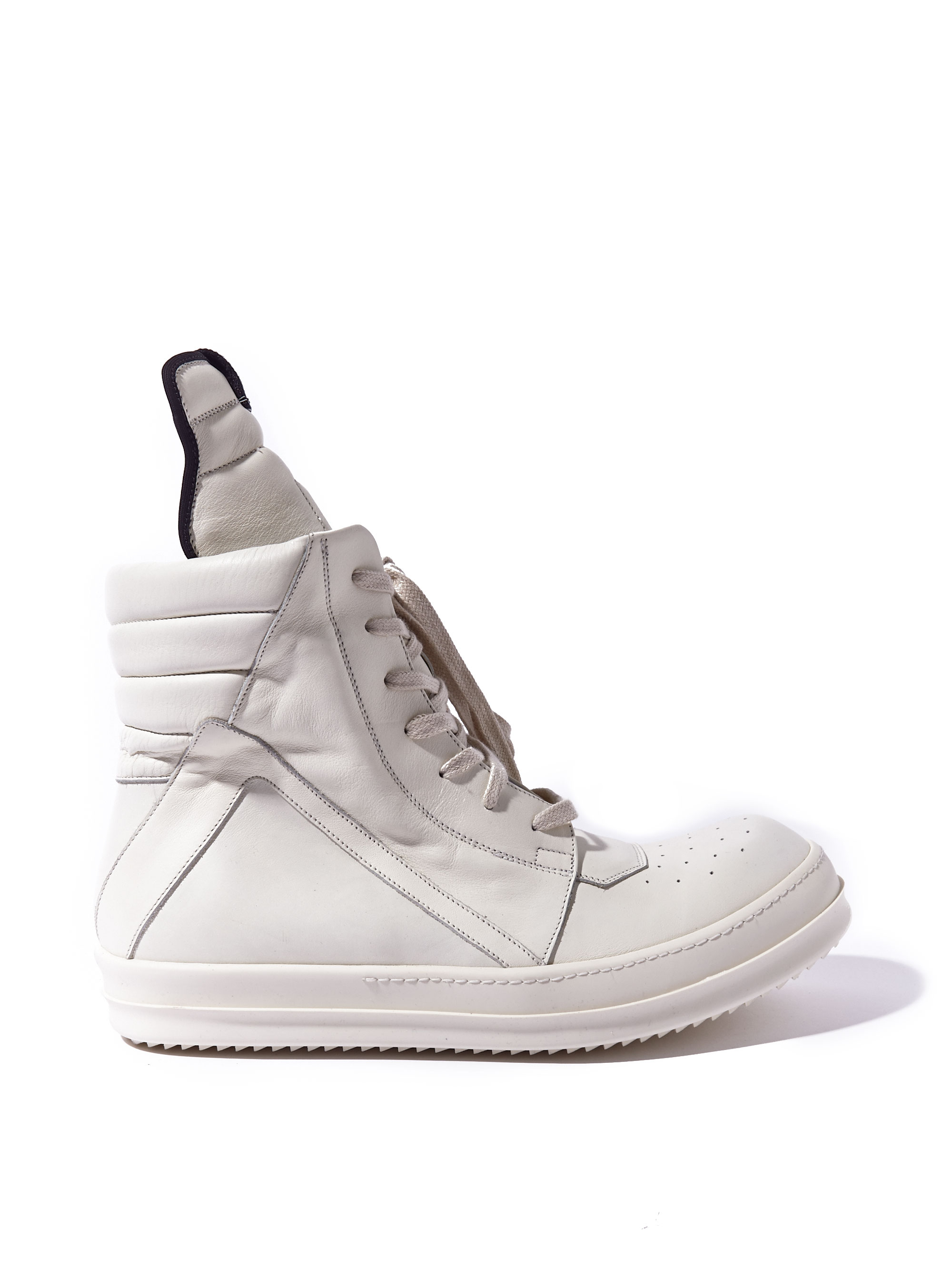 rick owens mens leather geobaskets in white for lyst