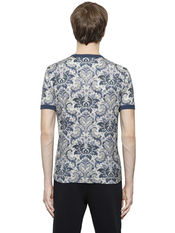 lyst dolce gabbana 39 majolica 39 print t shirt in blue. Black Bedroom Furniture Sets. Home Design Ideas