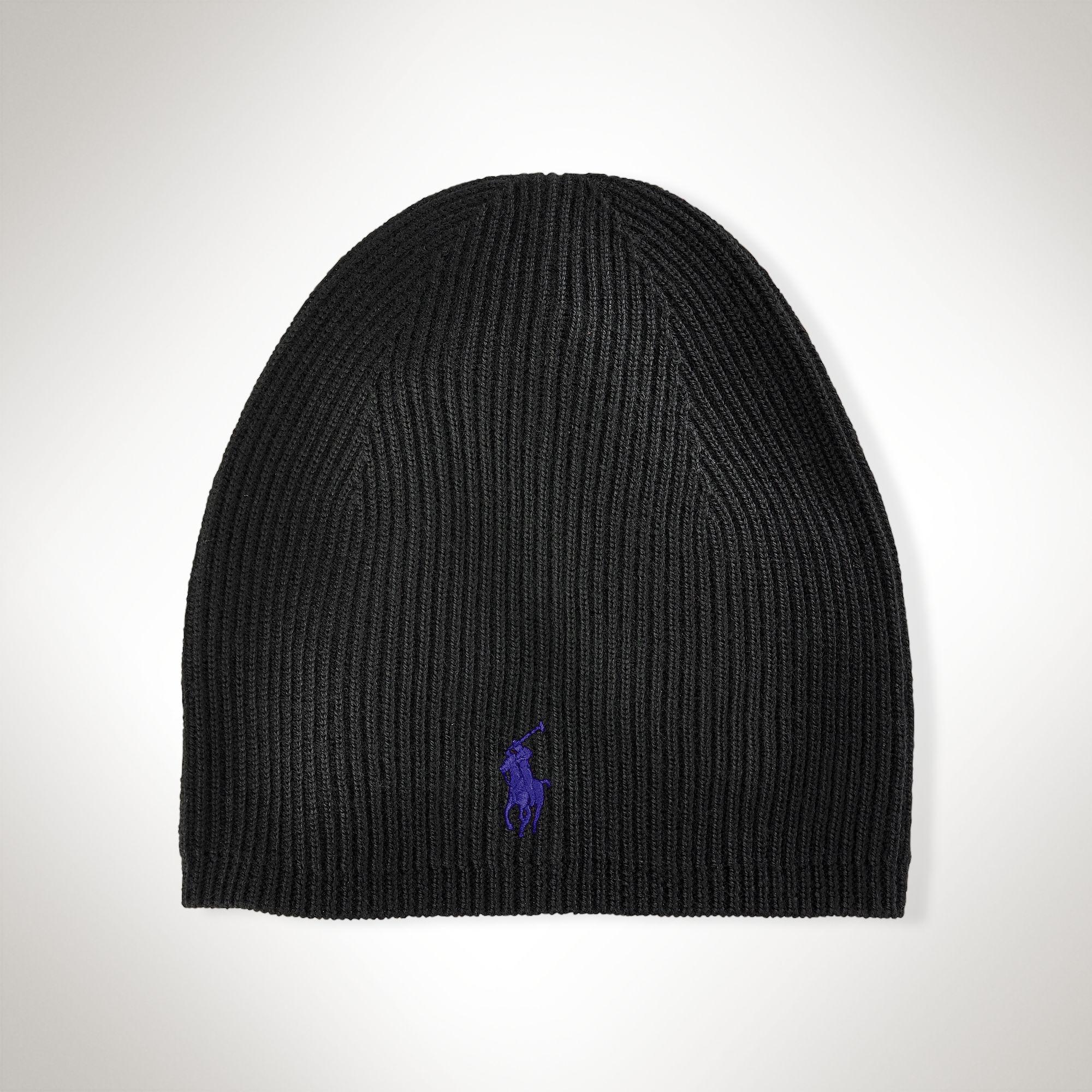 a8863abca Polo Ralph Lauren Merino Wool Skull Cap in Black for Men - Lyst