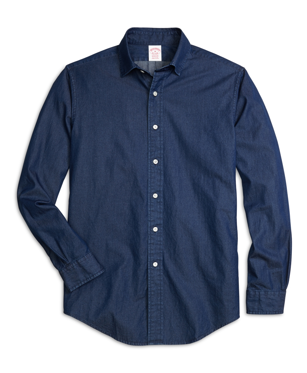 Brooks brothers madison fit spread collar denim sport for Men s spread collar shirts