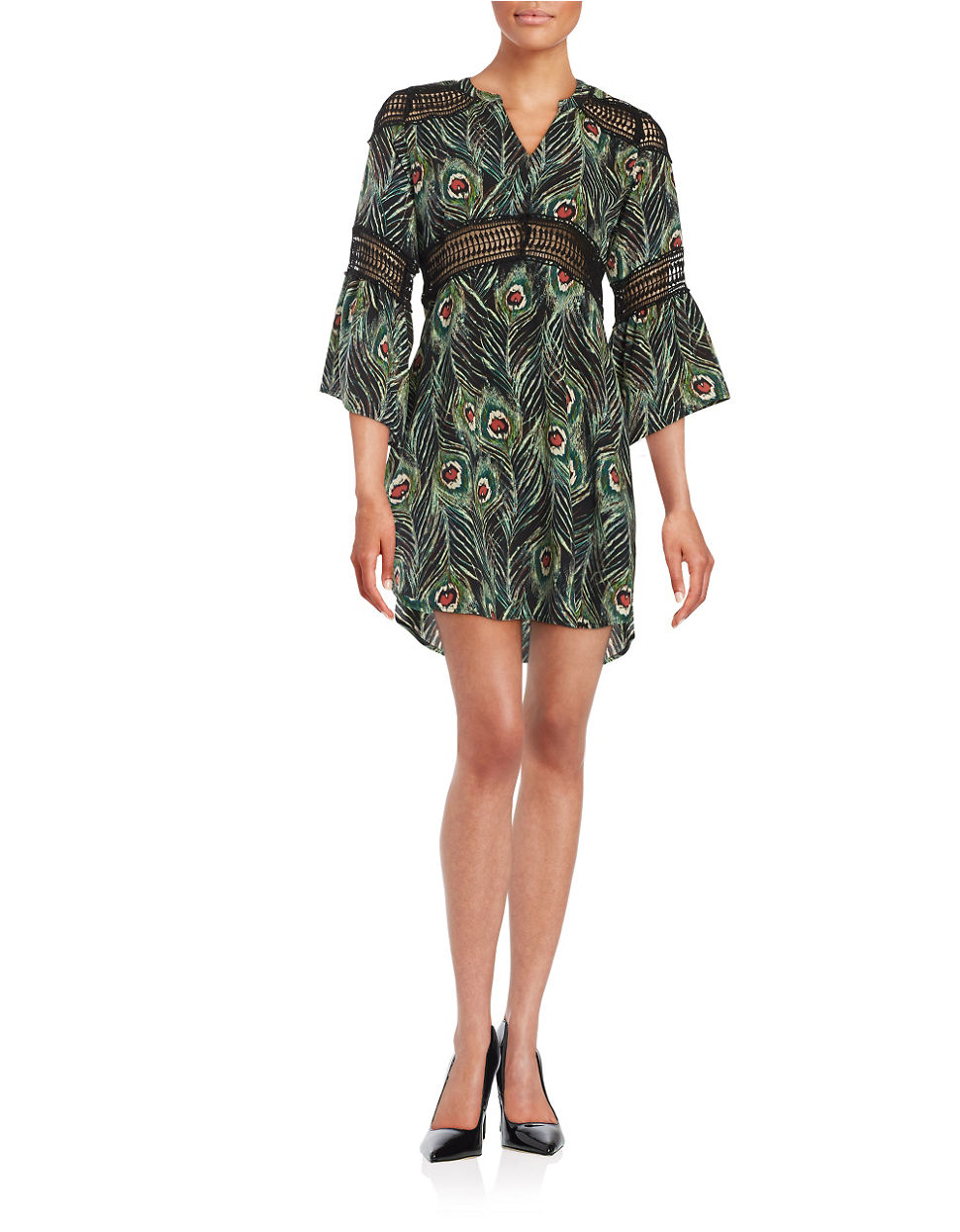 lord taylor lace accented patterned dress lyst