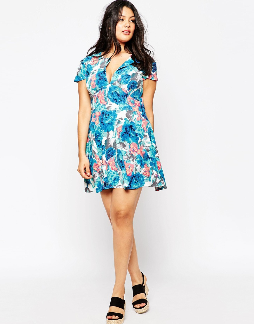 67defa5c884c7 Lyst - Club L Plus Size Skater Dress With Open Neck In Blue Floral ...
