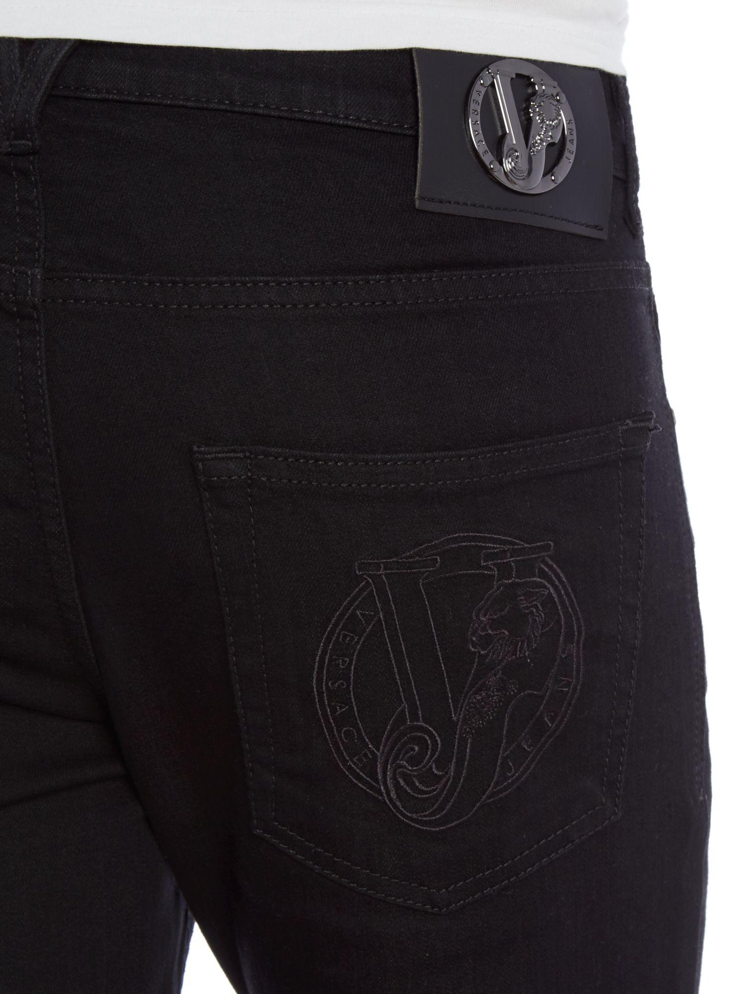 Versace jeans Tiger Slim Fit Black Jean in Black for Men | Lyst